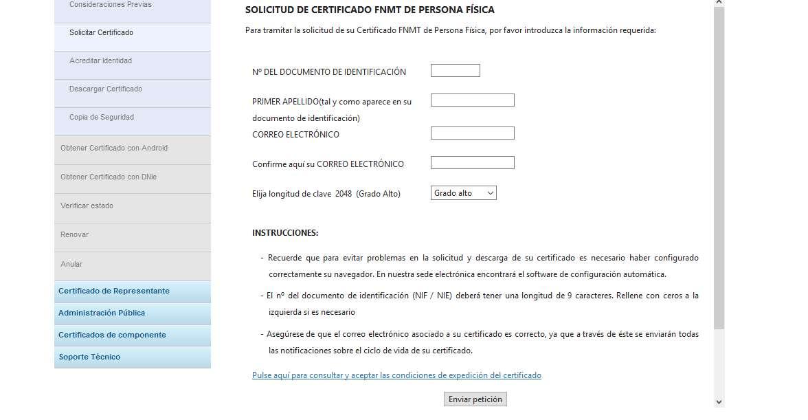 Certificado de Convivencia DNI digital formulario