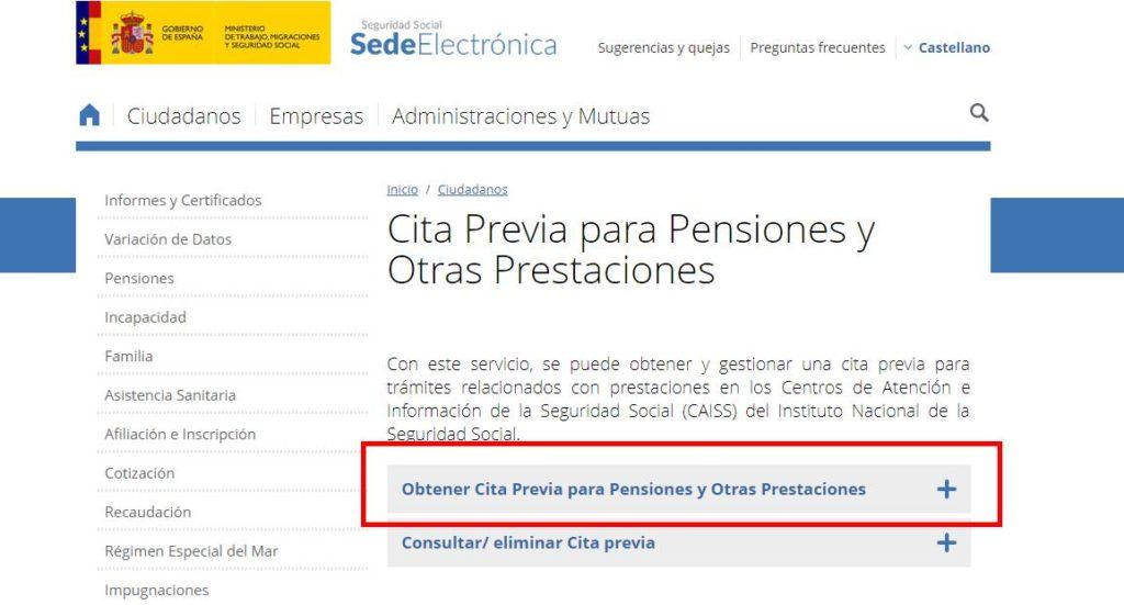 Cita previa para certificado de pensiones