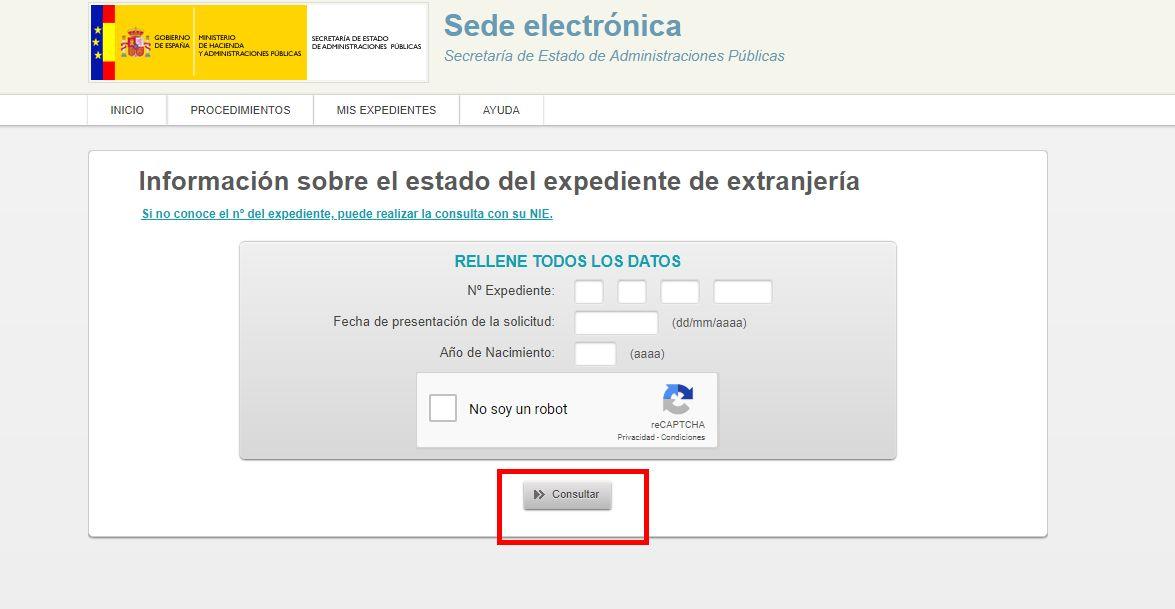 Consulta expediente extranjería formulario expediente