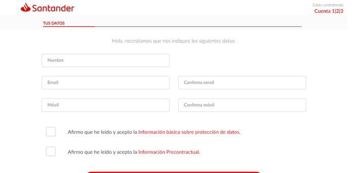 Formulario de solicitud Banco Santander