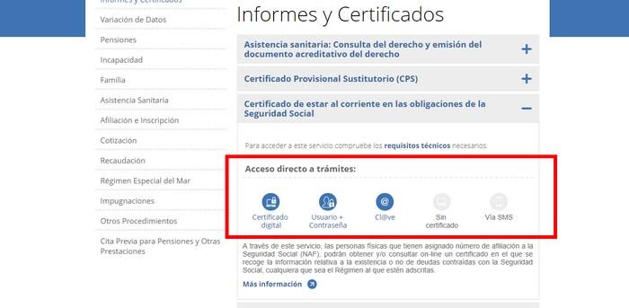 Solicitar certificado online