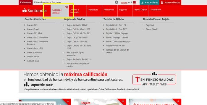 cuenta en el Banco Santander online